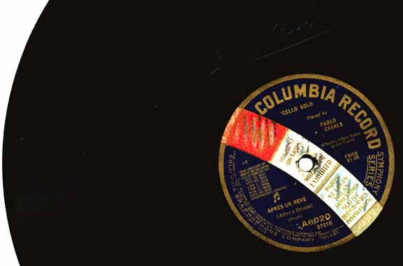 A Pablo Casals cello record vintage 1916